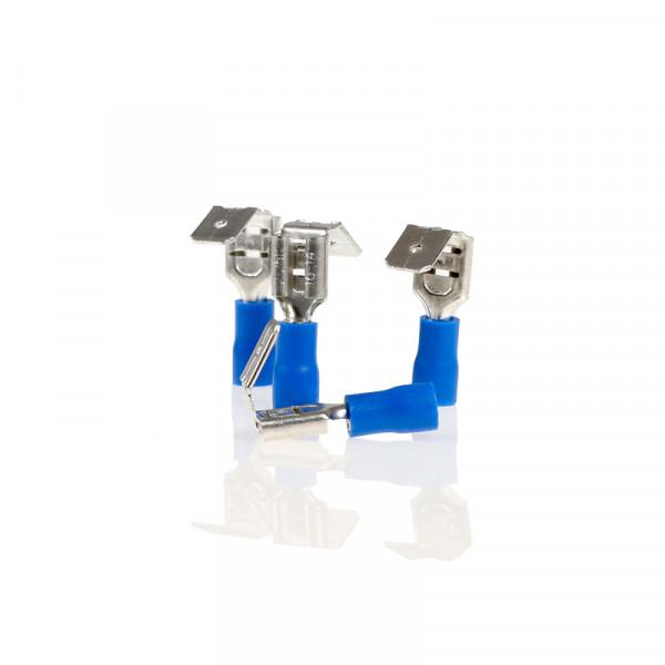 Flachsteckhülsen mit Abzweig blau 6,35mm 10St.