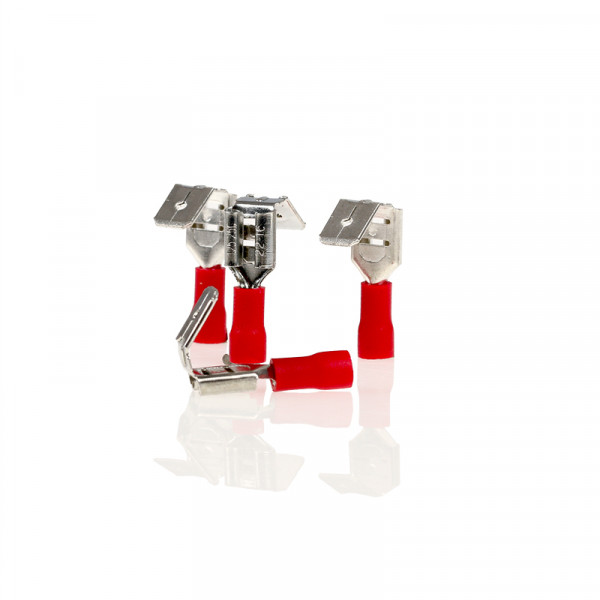 Flachsteckhülsen mit Abzweig rot 6,3mm 10St.