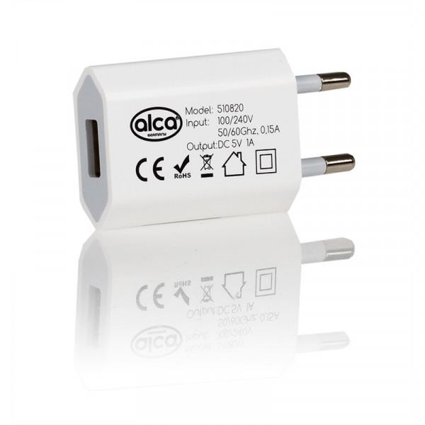 230V Stecker mit USB weiß